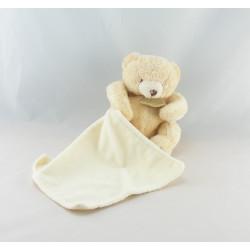 Doudou ours écru blanc avec mouchoir BABY NAT