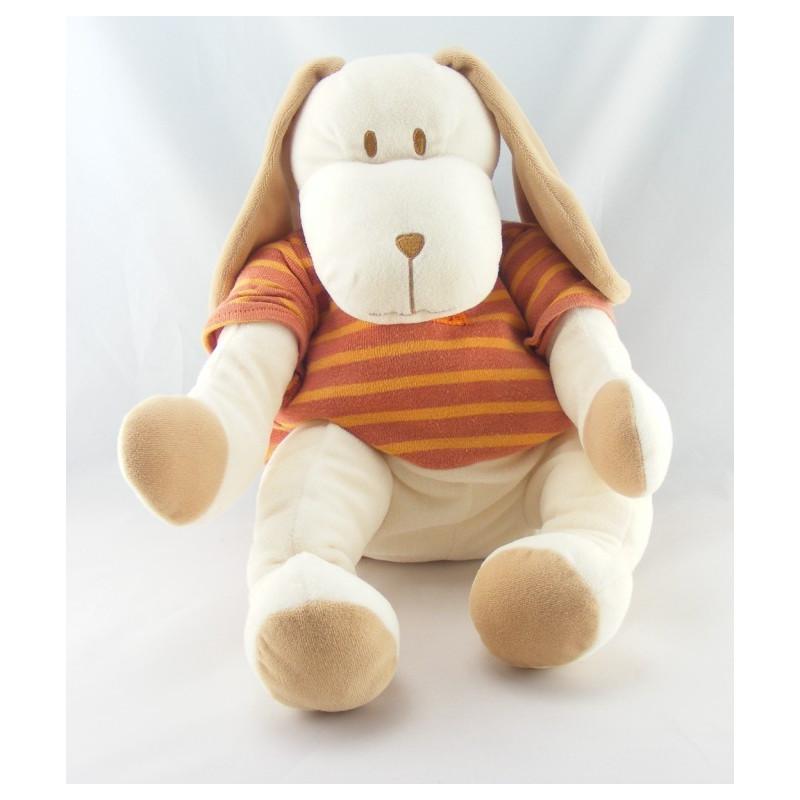 Doudou chien range pyjama maillot rayé orange SUCRE D'ORGE