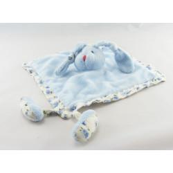 Doudou plat lapin bleu fleurs AUBERT