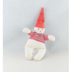Doudou plat blanc bonnet rouge Petit lutin PETIT BATEAU