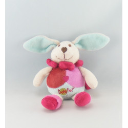 Doudou lapin blanc jaune orange attache tétine BABY NAT