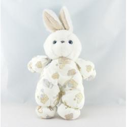 Doudou lapin blanc salopette imprimé TARTINE ET CHOCOLAT