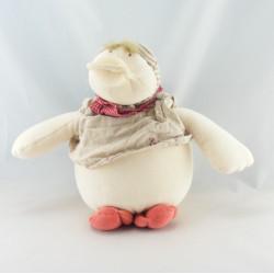 Doudou canard Edouard beige blanc col rouge MOULIN ROTY