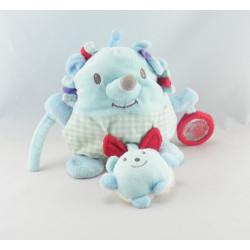 Doudou hérisson bleu avec bébé et hochet TEX