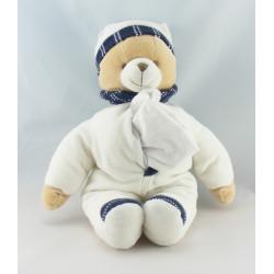Doudou et Compagnie ours blanc noir avec mouchoir
