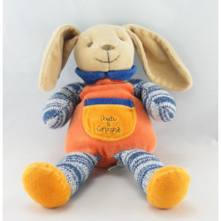 Doudou et compagnie lapin orange bleu laine noeud 30 cm