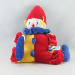 Doudou hochet clown rouge bleu SUCRE D'ORGE