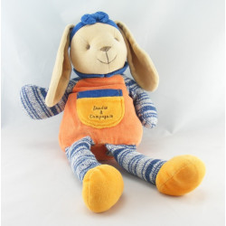 Doudou et compagnie lapin orange bleu laine 30 cm
