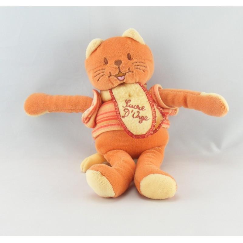 Doudou chat roux orange maillot rayé Sucre d'orge