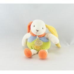 Doudou et compagnie lapin ptit doux bleu jaune carotte