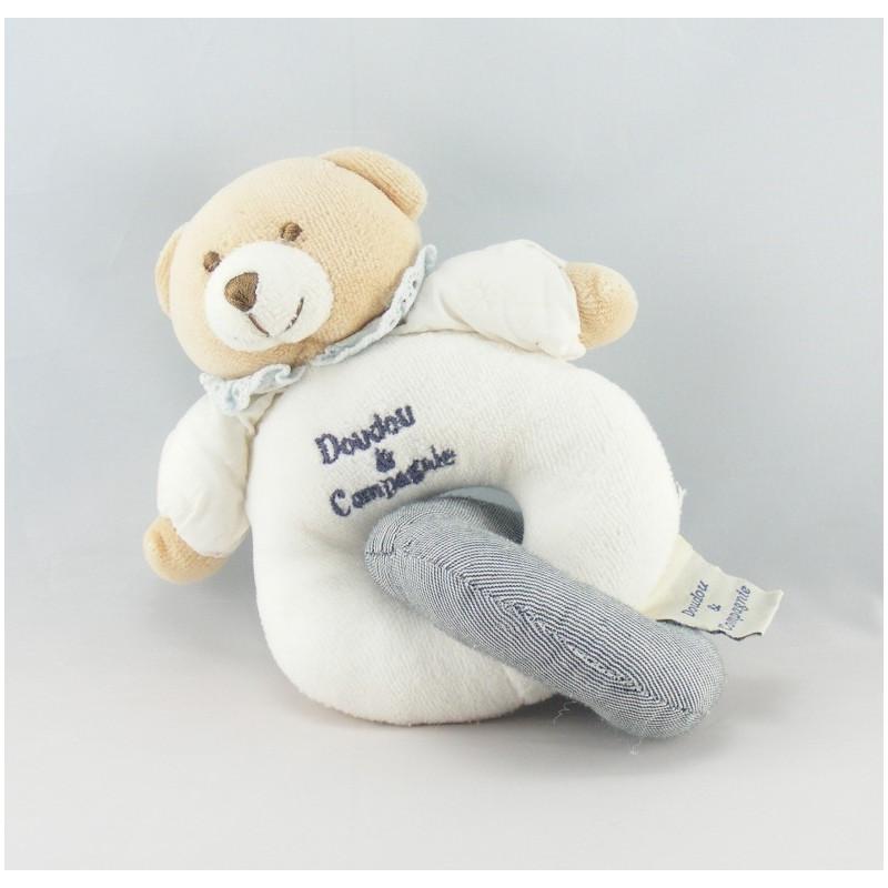 Doudou et compagnie hochet anneau ours blanc gris