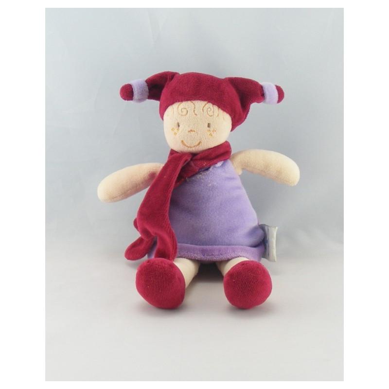 Doudou Lutin Fée robe violette bonnet bordeaux DOUDOU ET COMPAGNIE