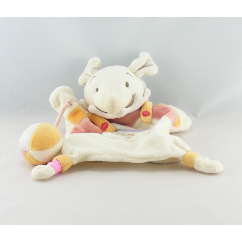 Doudou et compagnie souris blanche rose col mauve