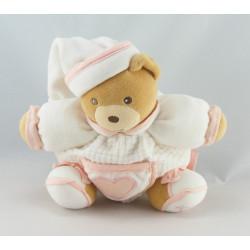 Doudou ours boule blanc coeur rose KALOO