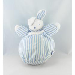 Doudou lapin boule blanc bleu rayé SUCRE D'ORGE