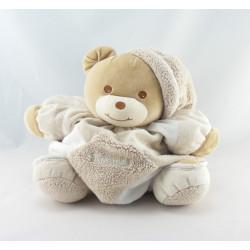 Doudou ours boule ecru beige blanc TAKINOU 28 cm
