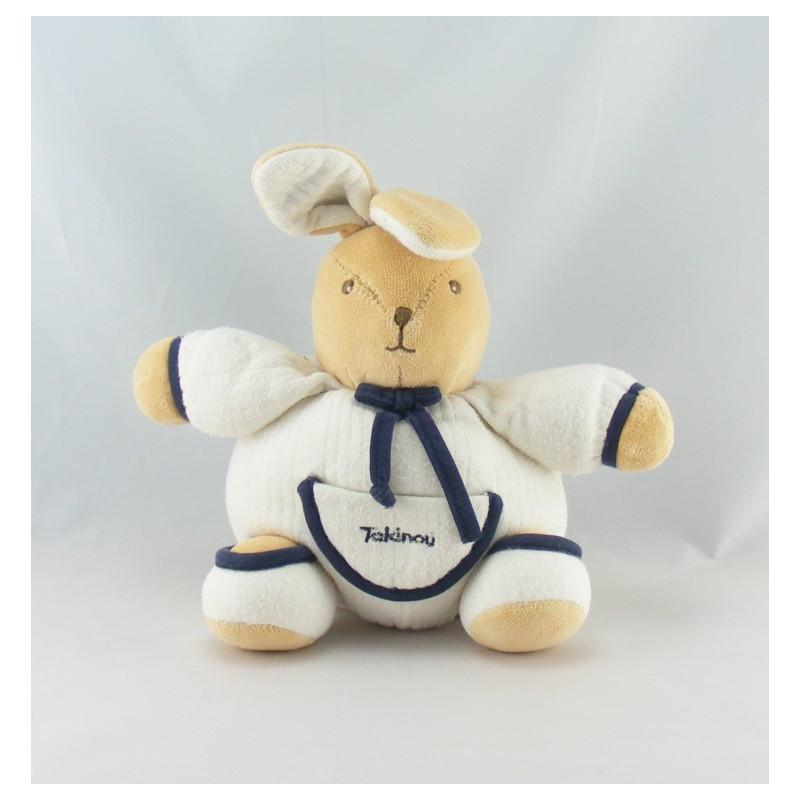Doudou lapin patapouf blanc bleu marine TAKINOU