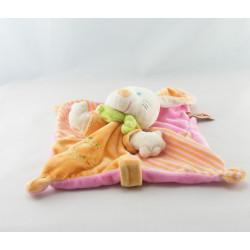 Doudou semi plat lapin rose orange escargot NICOTOY