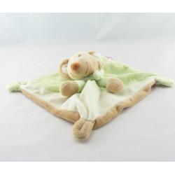 Doudou semi plat souris beige foulard rayé vert POMMETTE