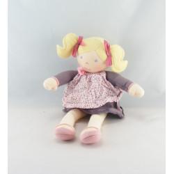 Doudou poupée chiffon robe prune pois couettes COROLLE