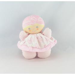 Doudou poupée chiffon bébé tendre rose fleurs rouge COROLLE 1993