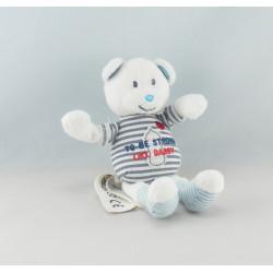 Doudou ours blanc bleu Fais moi un calin TAPE A L'OEIL