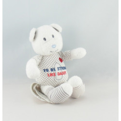Petit Doudou ours blanc rayé bleu To Be Strong Like Daddy TAPE A L'OEIL