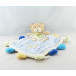 Doudou plat lapin bleu mauve blanc Super Doudou BABY NAT