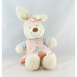Doudou hochet lapin blanc robe rose bleu papillon TEX BABY