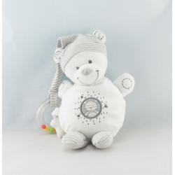 Doudou musical ours blanc rayé gris étoiles NICOTOY