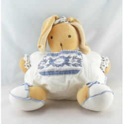 Doudou range pyjama lapin blanc fleurs bleu Lys KALOO