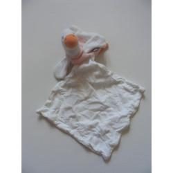 Doudou plat canard blanc rose avec mouchoir SUCRE D'ORGE