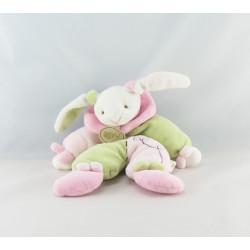 Doudou plat noeuds lapin rose vert BABY NAT
