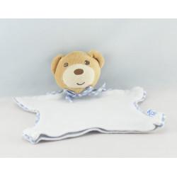Doudou plat ours endormi vichy bleu Kaloo