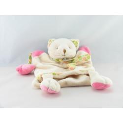 Doudou plat marionnette Mme lapin beige rose vert gris rayé BABY NAT