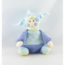 Doudou marionnette lutin bleu vert spirale REVE DE BEBE