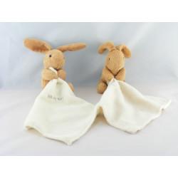 Doudou Lapin beige marron avec mouchoir Baby nat