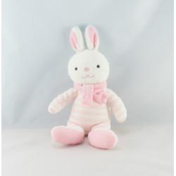 Doudou lapin blanc rose rayé Luminou