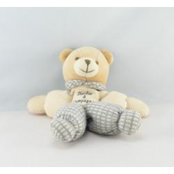 Doudou et compagnie ours Mon Doudou gris écru mouchoir