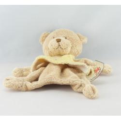 Doudou plat ours beige maillot mauve avec coeur NICOTOY