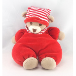 Doudou ours blanc rouge NOUNOURS