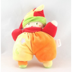 Doudou clown jaune orange rouge COROLLE