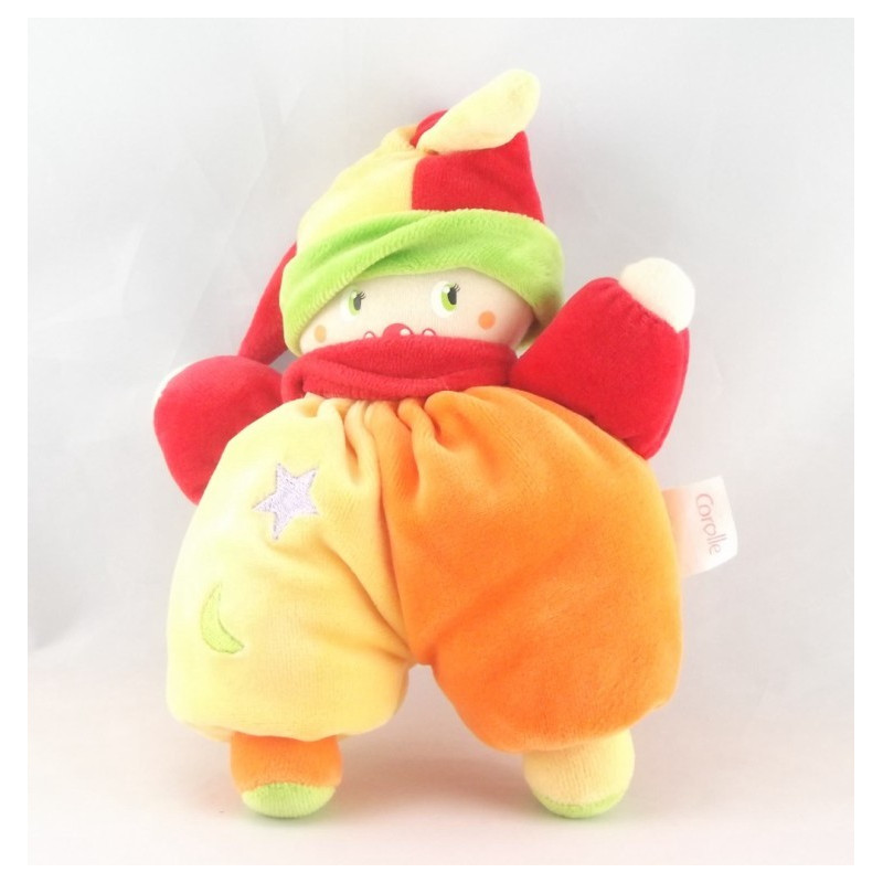 Doudou clown jaune orange rouge COROLLE