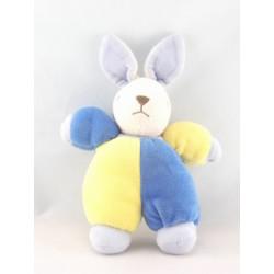 Doudou lapin bleu jaune NOUNOURS