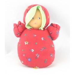 Doudou poupée chiffon rouge cerises COROLLE