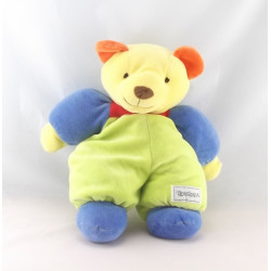 Doudou ours bleu vert jaune fleur NOUNOURS