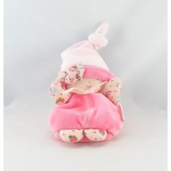 Doudou Poupée rose col imprimé hochet Corolle
