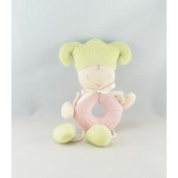 Doudou poupée princesse lutin rose petit pois couronne COROLLE