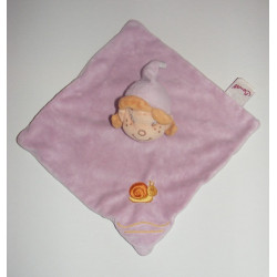 Doudou Plat carré rose avec escargot brodé Fillette Lutin Bengy