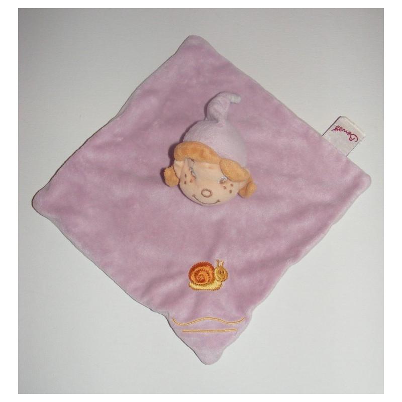 Doudou Plat carré rose avec escargot brodé Fillette Lutin Bengy